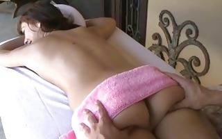 sweet hottie blowing before getting a facial