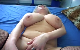 aged hottie with a lengthy darksome dildo