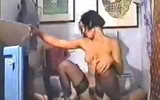 hawt brunette in stockings sex tape