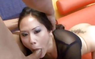 exotic girl gagging on black weenies