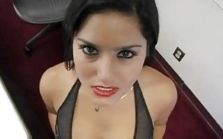 lewd dark brown teacher shows her sexy darksome
