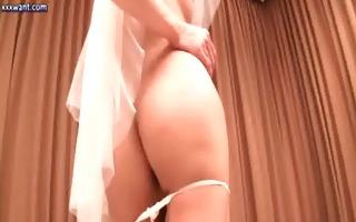 wild ladyboy bride rubbing her large dick