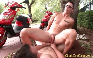 excited gays on scooters have some public part4