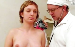 old perverted doctor is muff gaping and examining