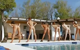 six stripped beauties by the pool from poland