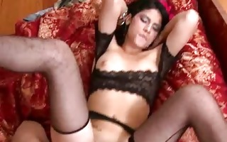 latin chick belle in a dark lingerie get a