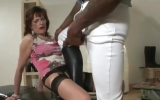 hungry aged stockings brit sucks on dick