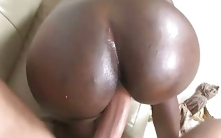lusty ebon whore with huge gazoo pumped hard on