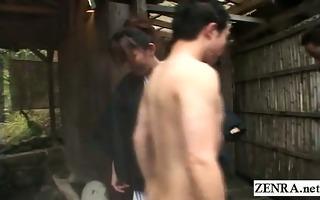 subtitled cfnm merry japanese outdoor bathing