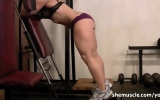 older golden-haired works legs in the gym