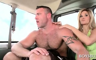 muscled guy riding the lads sex bus for a