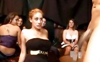 cfnm girls suck hung stripper at cfnm club
