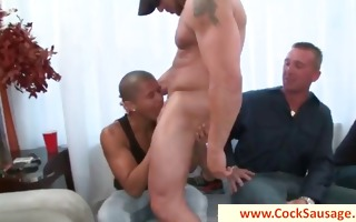 muscled homo stripper getting sucked by group by