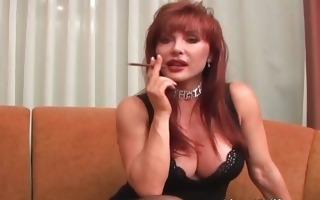 foxy redhead d like to fuck enjoys in self