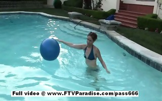 anna splendid redhead chick outside in the pool