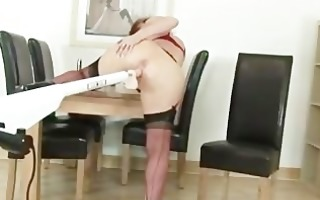 see aged floozy in stockings