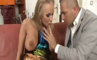 glamorous golden-haired sucking his hard cock