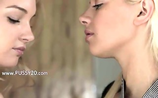 unparalleled golden-haired girl2girl in daddys