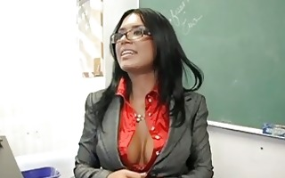 hot breasty teacher with glasses masturbates in
