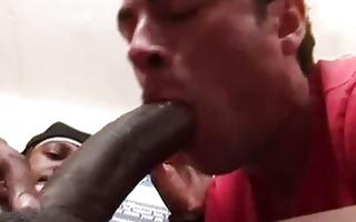 slender white guy gives deep throat interracial