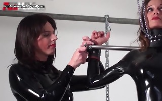 lesbian latex non-professional threesome