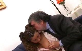 she is brings an older guy home for three-some