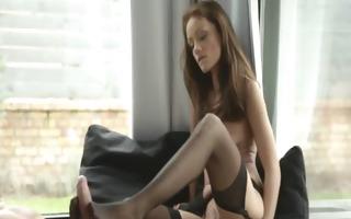brunette rides throbbing dick