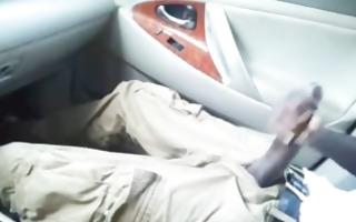 massive black rod jacking in car