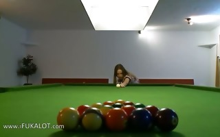 jaw-dropping lezzs in shoes on billiards