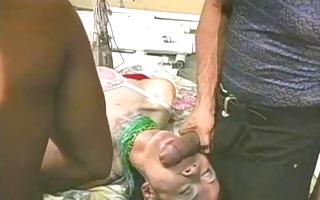 chinese t-girl receives 3 guys - old man sucks