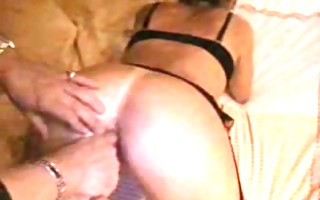 constricted butt in stockings fingered