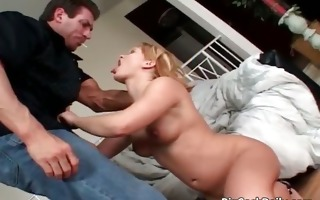 hot golden-haired floozy blows large unyielding