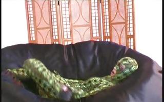 pornstar in snake spandex costume
