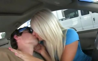 lustful pornstars engulfing knob in car
