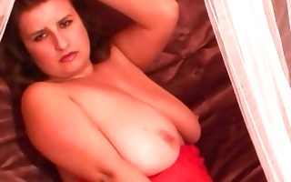 turned on obese dark brown in hawt red lingerie