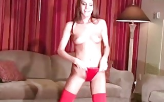 addison rose in red tights and red panties for you