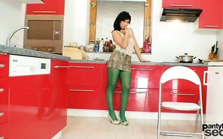 sexy lalin girl posing in sheer nylon hose