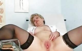 breasty granny in uniform stretchi...