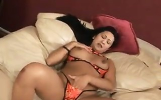 oriental slut in heels masturbating