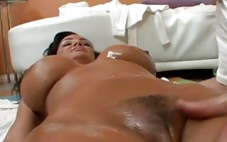 big a-hole chubby oiled brunette with large