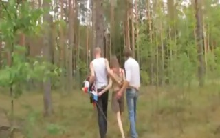 amateur irish three-some in the forest