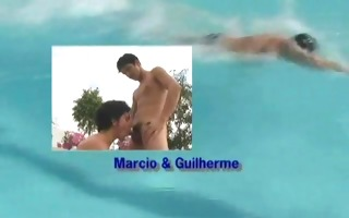 muscled swimmers shower fun - the french