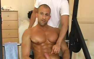 a sexy giant chest guy receives wanked his strong